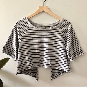 We The Free Grey Open back stripe crop too Size S